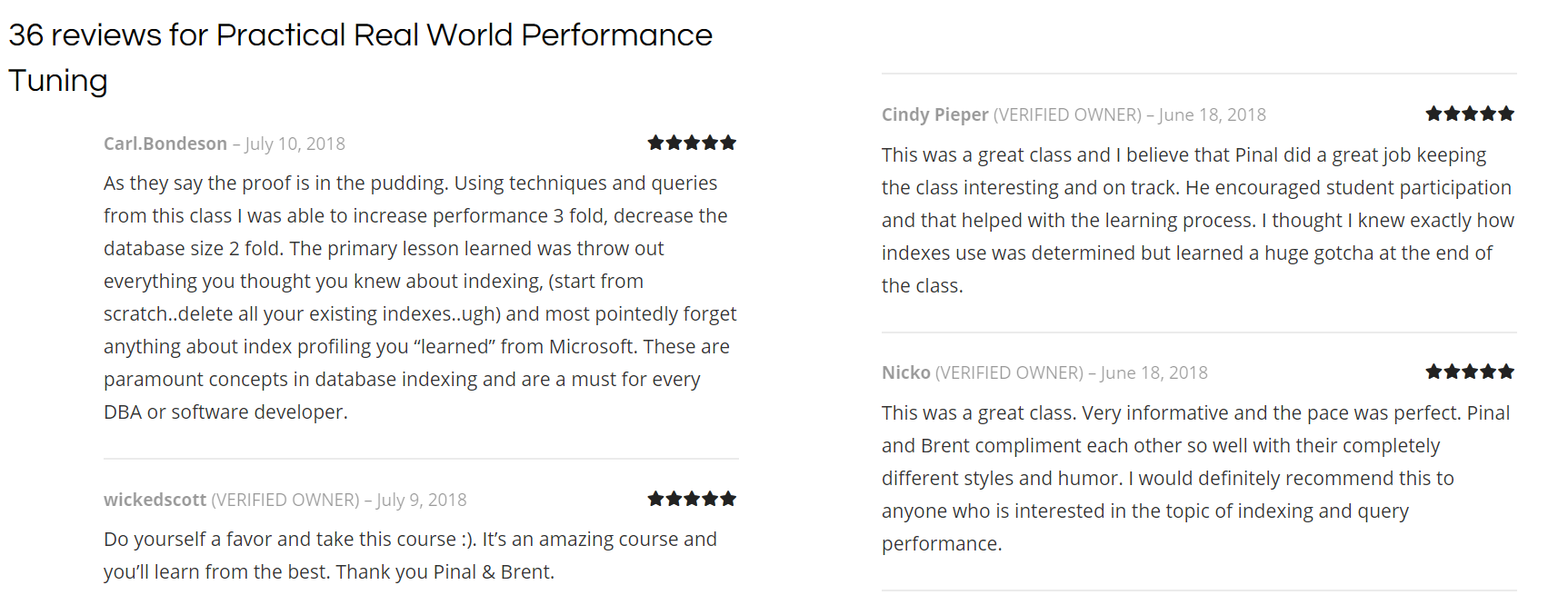Practical Real World Performance Tuning - Class Preparation and Setup reviews