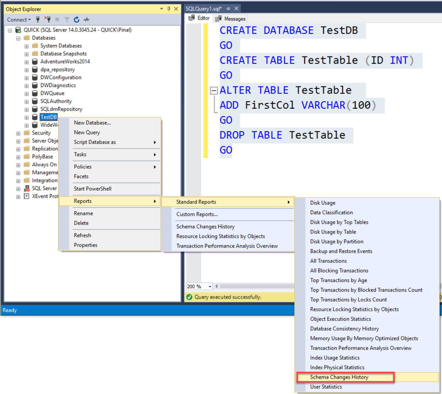 SQL SERVER - Finding User Who Dropped Database Table schema1