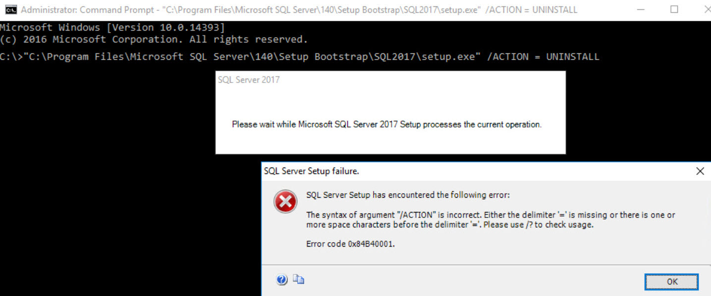 SQL SERVER - SETUP Error: The Syntax of Argument