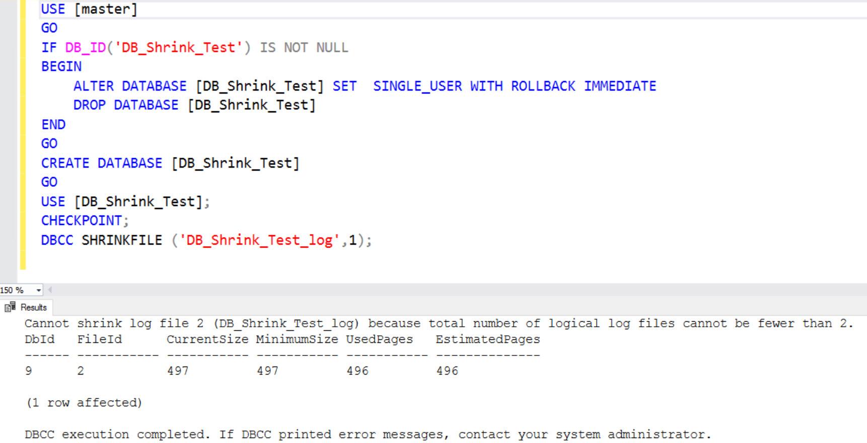 SQL SERVER - Cannot Shrink Log File Because Total Number of Logical Log Files Cannot be Fewer than 2 shrink2-01