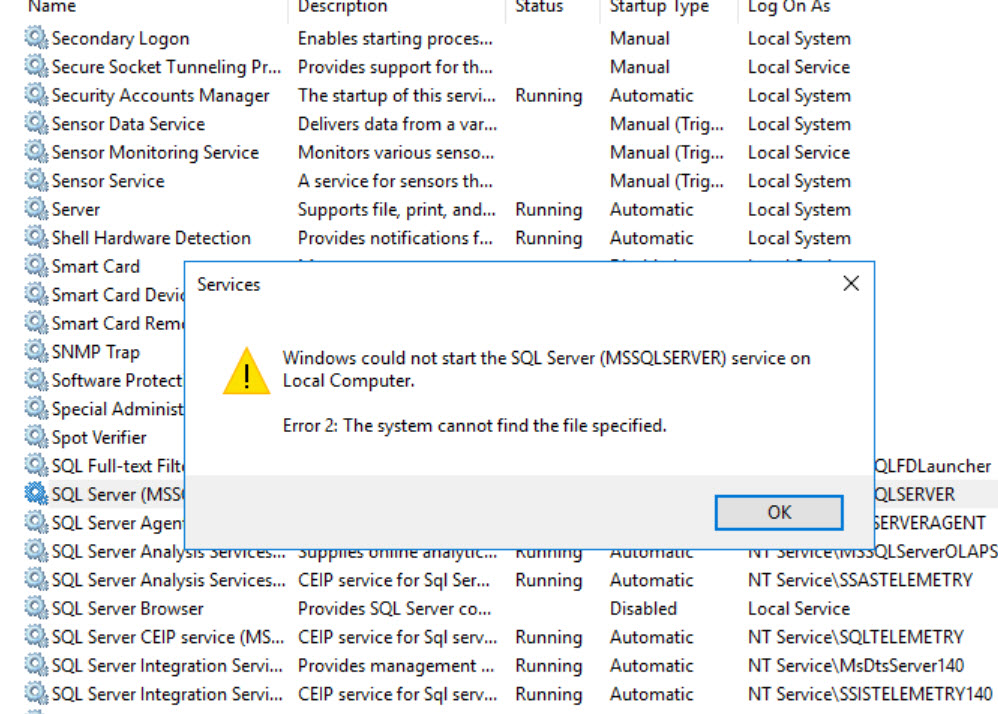 SQL SERVER - Unable to Start SQL Service Error: 17172 - SNIInitialize() Failed with Error 0x2 sni-err02-01