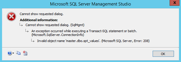 SQL SERVER - Invalid Object Name 'master.dbo.spt_values' in Management Studio spt-values-err-01