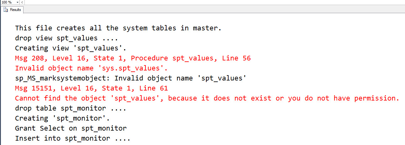 SQL SERVER - Invalid Object Name 'master.dbo.spt_values' in Management Studio spt-values-err-03
