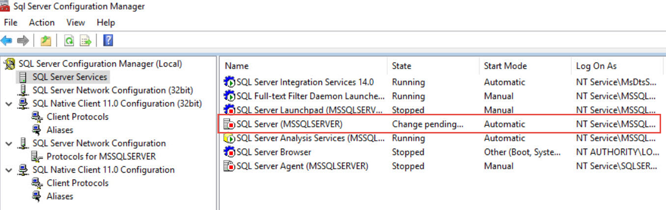 SQL SERVER - What is Change Pending State of in SQL Server Configuration Manager? sql-change-pending-01
