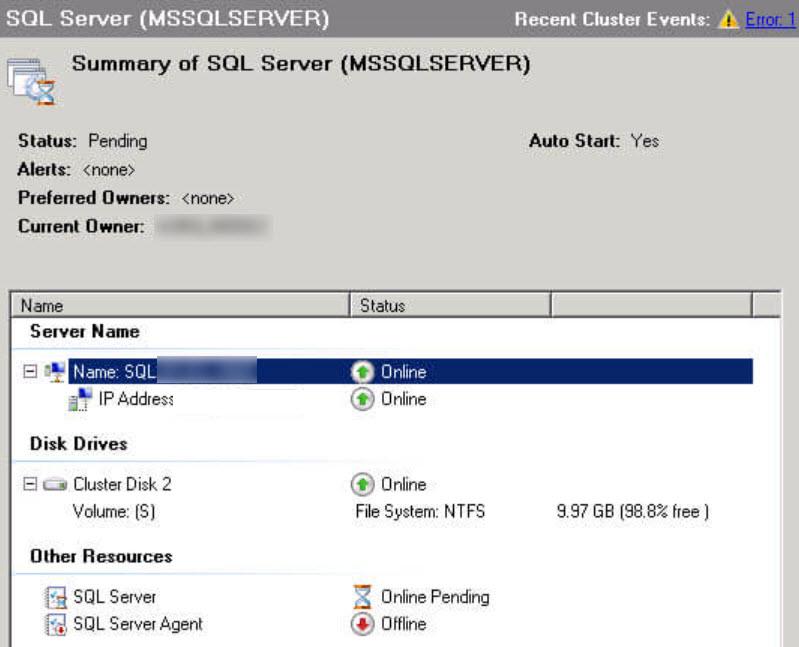 sql server unable to bring sql cluster online reason Virtual Server Cluster