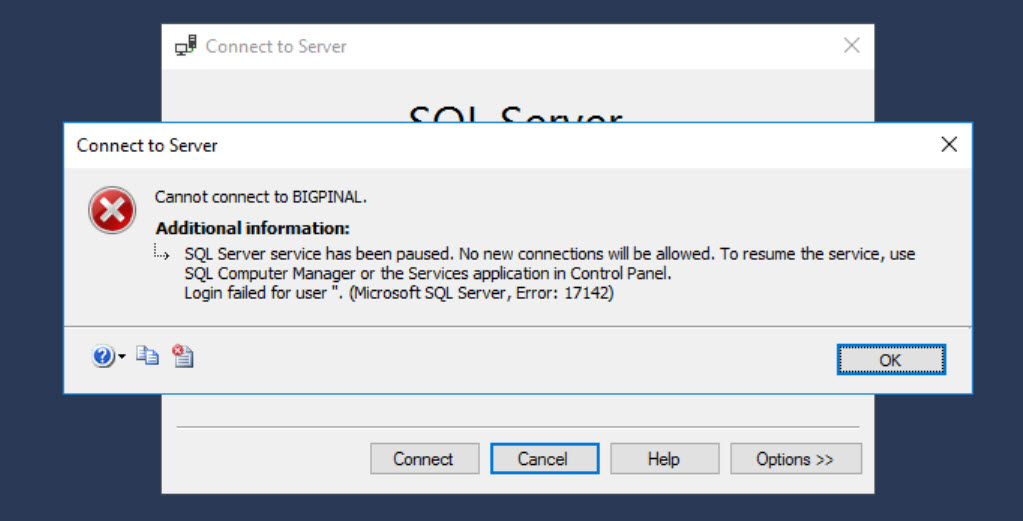 SQL SERVER - Error: 17142 - SQL Server Service has Been Paused. No New Connections Will be Allowed sql-pause-01