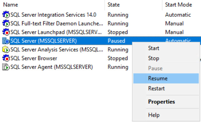 SQL SERVER - Error: 17142 - SQL Server Service has Been Paused. No New Connections Will be Allowed sql-pause-03