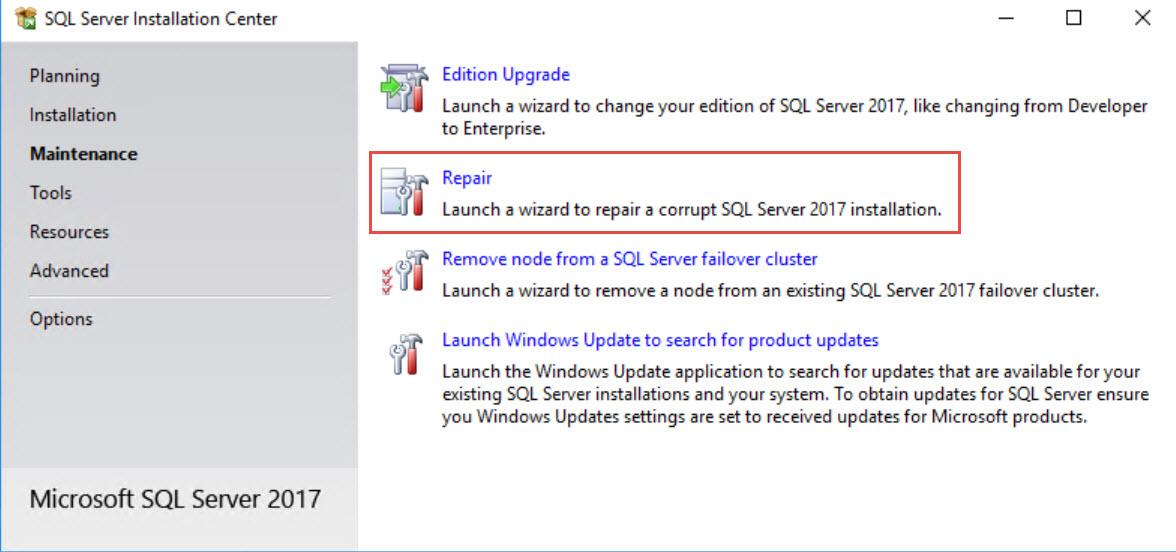 SQL SERVER - Unable to Repair