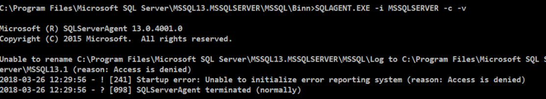 SQL SERVER - SQL Server Agent Not Starting - Failed to Initialize SQL Agent Log (Reason: Access is Denied). sqlagt-error-02