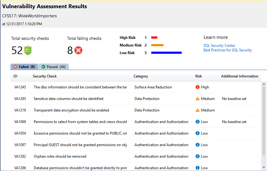 SQL SERVER - SQL Vulnerability Assessment - Security Analysis sqlvulnerability3