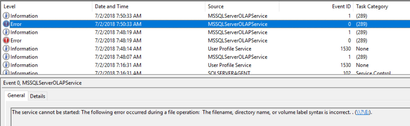 SQL SERVER Analysis Services - Unable to Start Service. Error: The Filename, Directory Name, or Volume Label Syntax is Incorrect ssas-error-01
