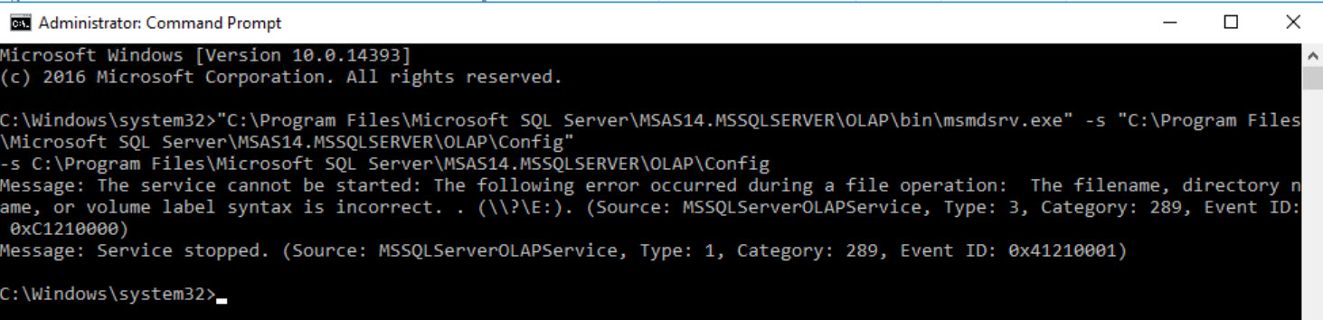 SQL SERVER Analysis Services - Unable to Start Service. Error: The Filename, Directory Name, or Volume Label Syntax is Incorrect ssas-error-02