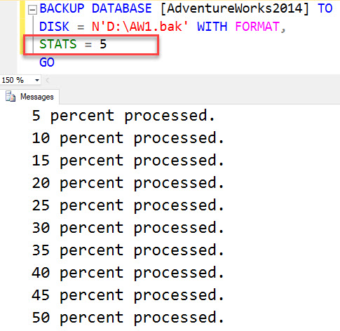 What does Keyword STATS Indicates in Backup Scripts in SQL Server? - Interview Question of the Week #138 stat2