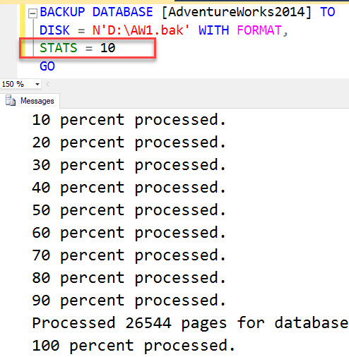 What does Keyword STATS Indicates in Backup Scripts in SQL Server? - Interview Question of the Week #138 stat3