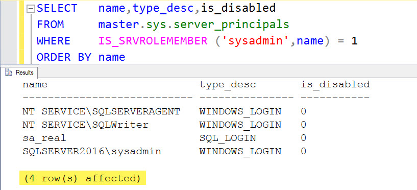 SQL SERVER - Query to Get the List of Logins Having System Admin (sysadmin) Permission who-sysadmin-01