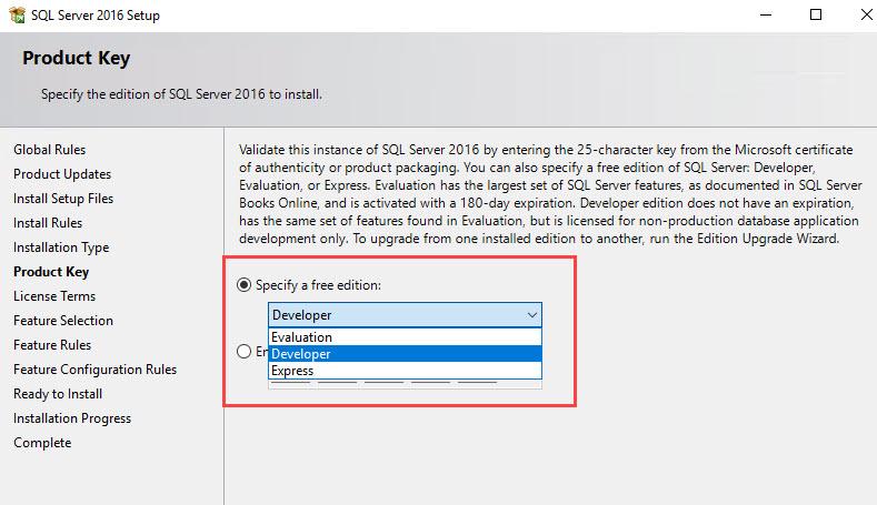 SQL SERVER - Product Key for Developer Edition, Enterprise Evaluation Edition and Express Edition PID-dev-eval-exp