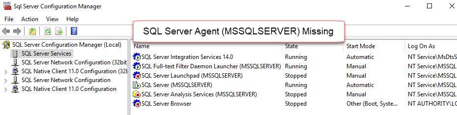 SQL SERVER - SQL Server Agent Missing in SQL Server Configuration Manager agt-missing-02
