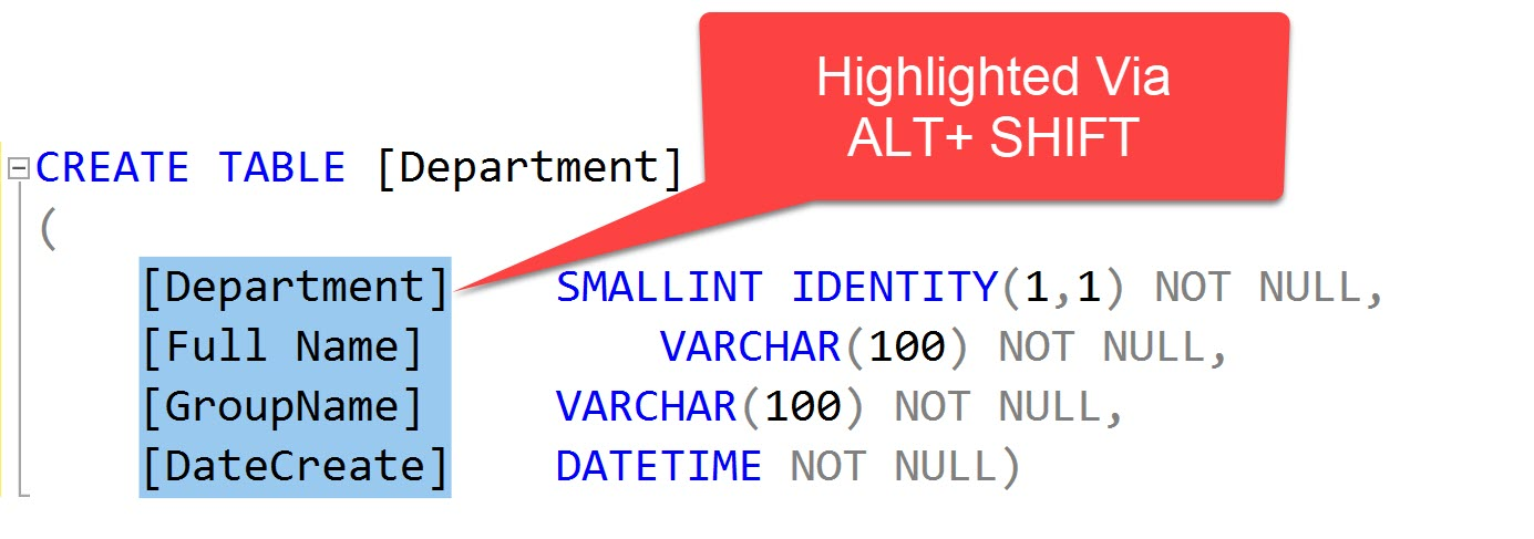 SQL SERVER Management Studio - ALT + SHIFT Keys Trick to Select Vertical Text altshift