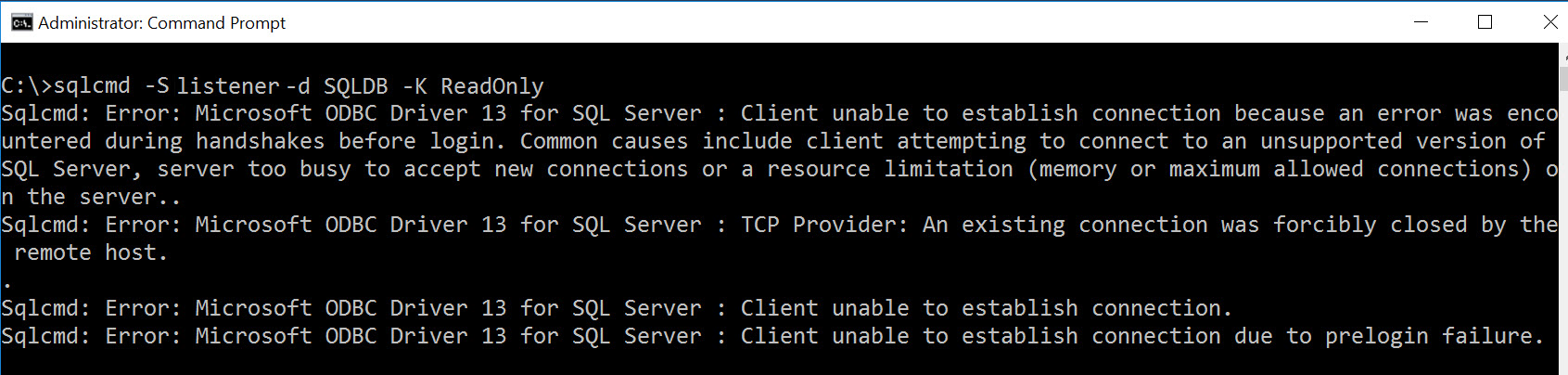 SQL SERVER - Read Only Routing Error: Client Unable to