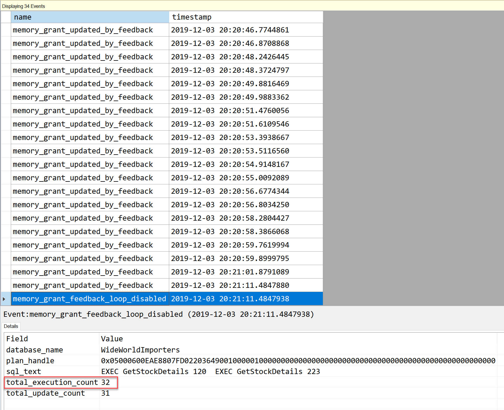 SQL SERVER - Extended Event to Capture Memory Grant Feedback capturememory13