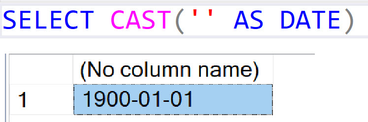 SQL SERVER - CONVERT Empty String To Null DateTime castdate