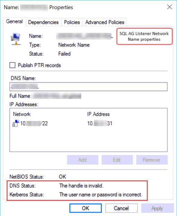 SQL SERVER - LogonUserExEx Fails for User & GetToken - Logging on as the CNO Failed With Error 1326 clu-ag-err-01