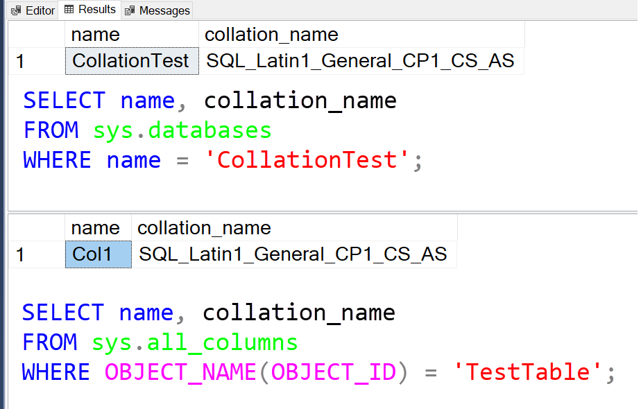 SQL SERVER - Change Database and Table Collation collation3
