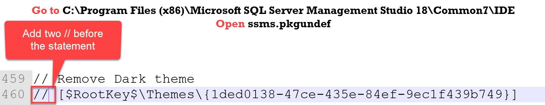 SQL SERVER Management Studio 18 - Enable Dark Theme darktheme3