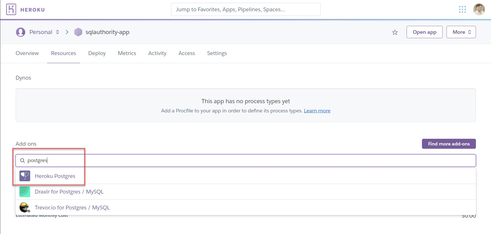 Heroku - How to Deploy Postgres Add-Ons? herokuapp4