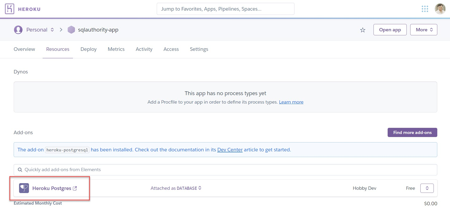 Heroku - How to Deploy Postgres Add-Ons? herokuapp6