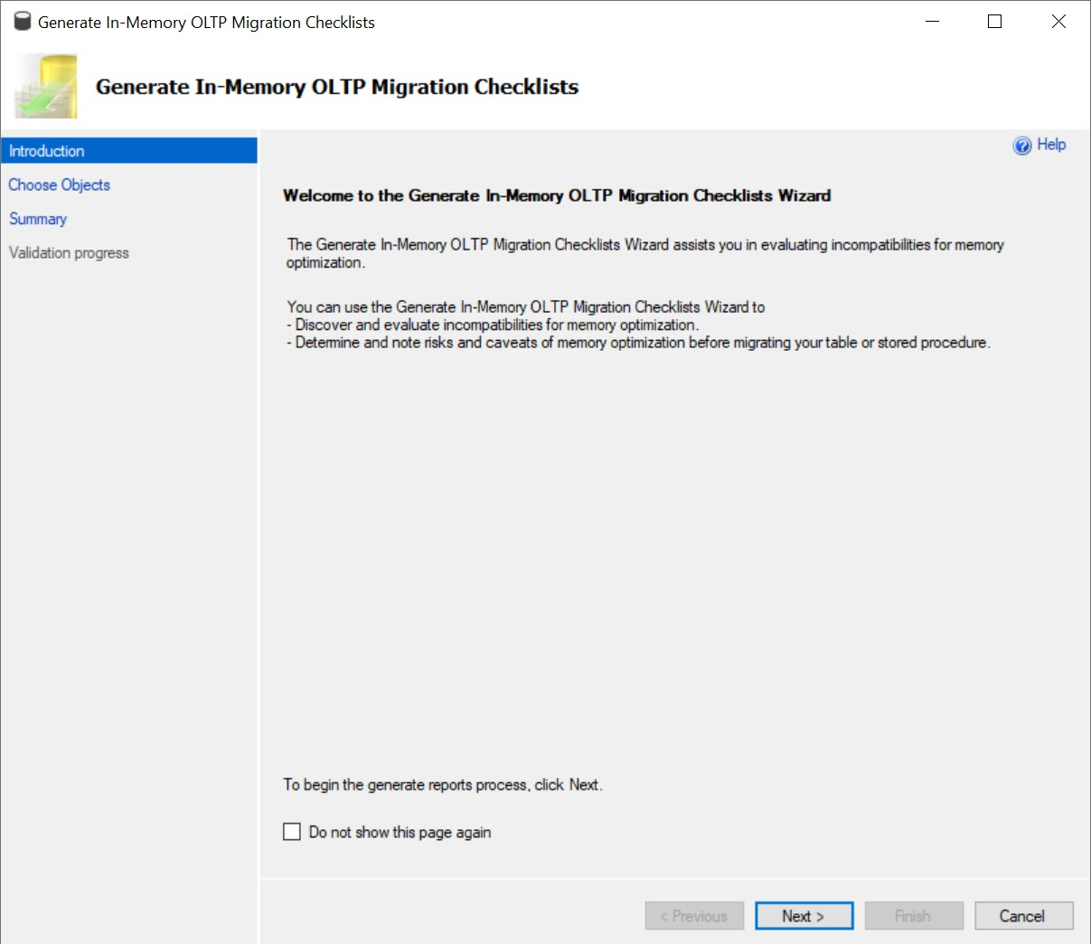 SQL SERVER - Generate In-Memory OLTP Migration Checklists - SSMS in-memory01