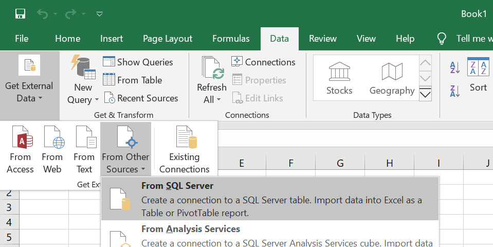 How to Import a SQL Server Table Inside Excel Sheet? - Interview Question of the Week #273 insideexcel1