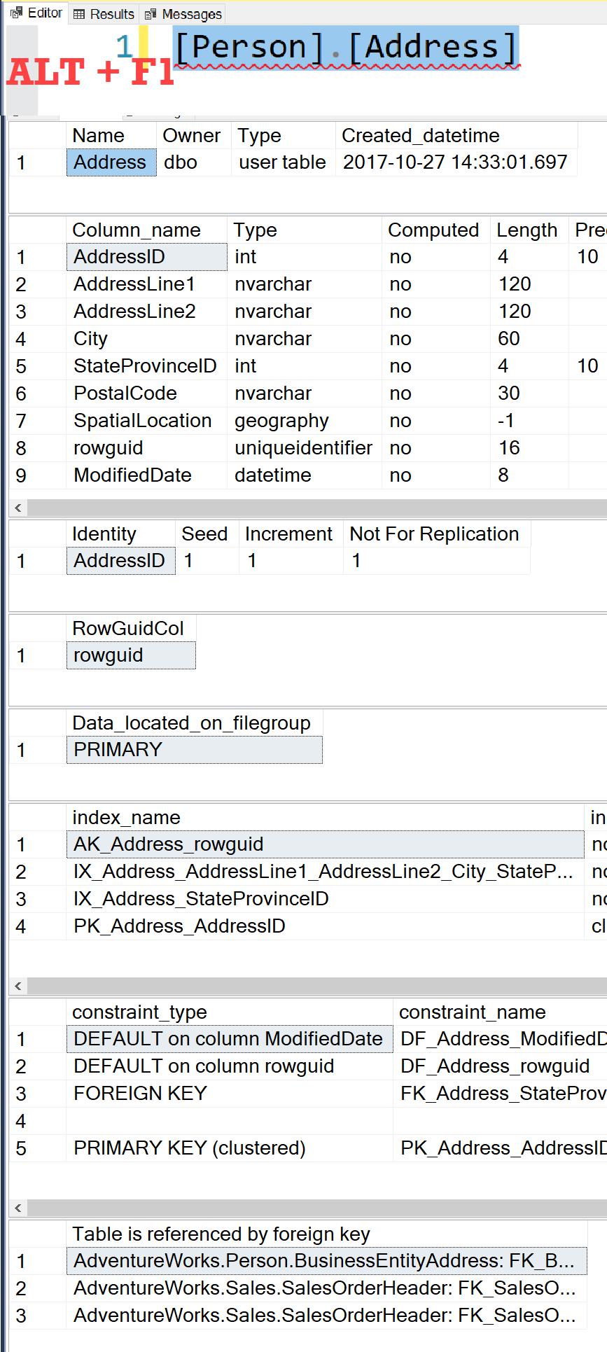 SQL SERVER - Query Shortcuts keyboardsc1