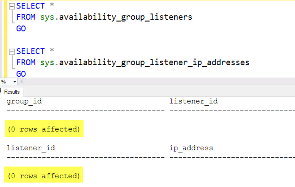 SQL SERVER - Always On Availability Group Listener Missing in SSMS but Working Fine in Failover Cluster Manager list-miss-02