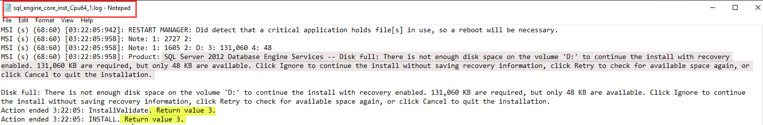 SQL SERVER - Patch Failure - Disk Full: There is Not Enough Disk Space On the Volume patch-disk-full-02