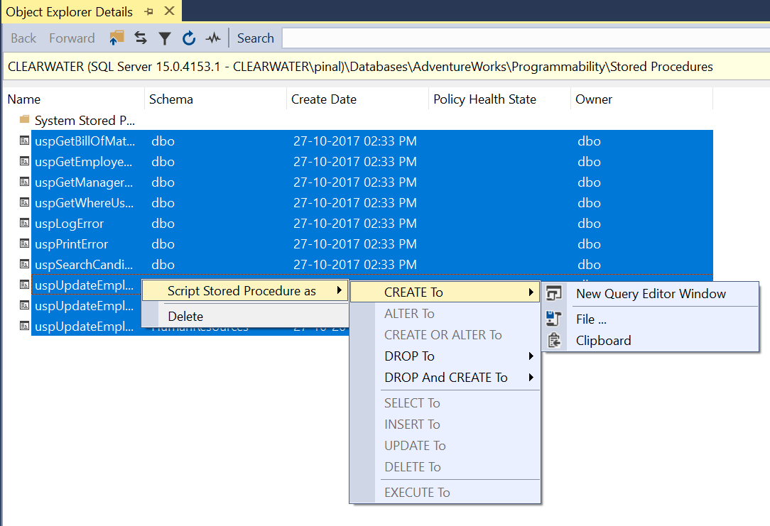 SQL SERVER - Easiest Way to Copy All Stored Procedure Definitions procedure-definitions