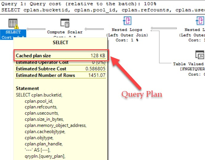 SQL SERVER - List Query Plan, Cache Size, Text and Execution Count queryplancachesize