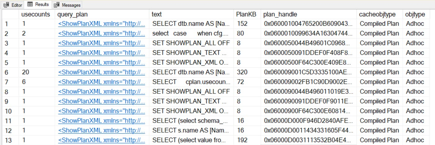 SQL SERVER - List Query Plan, Cache Size, Text and Execution Count queryplancachesize1