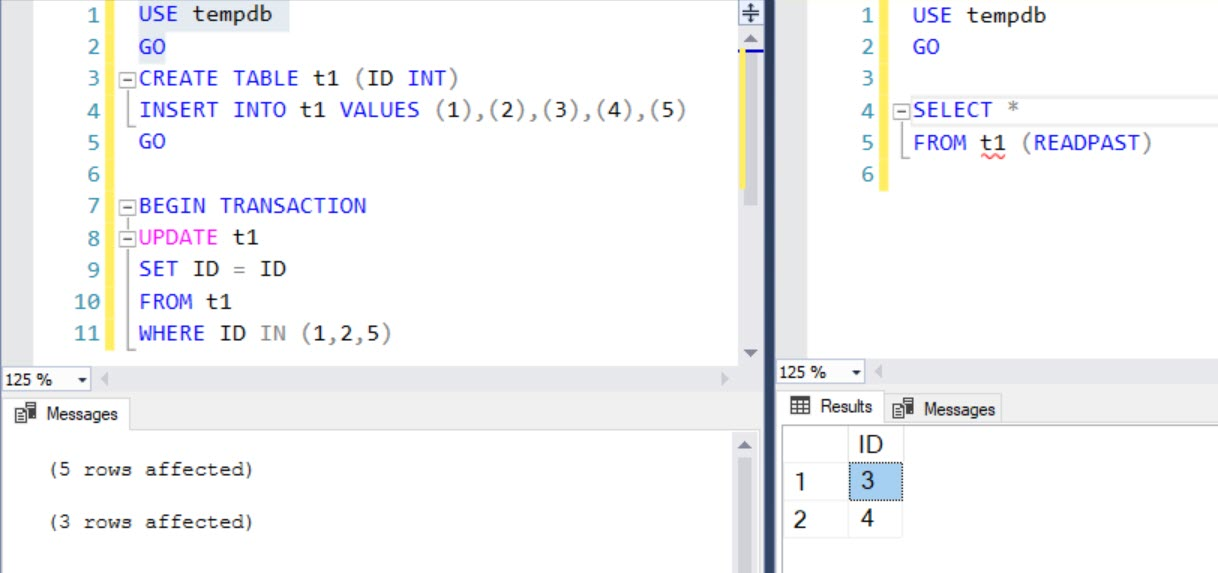 SQL SERVER - Simple Example of READPAST Query Hint readpast