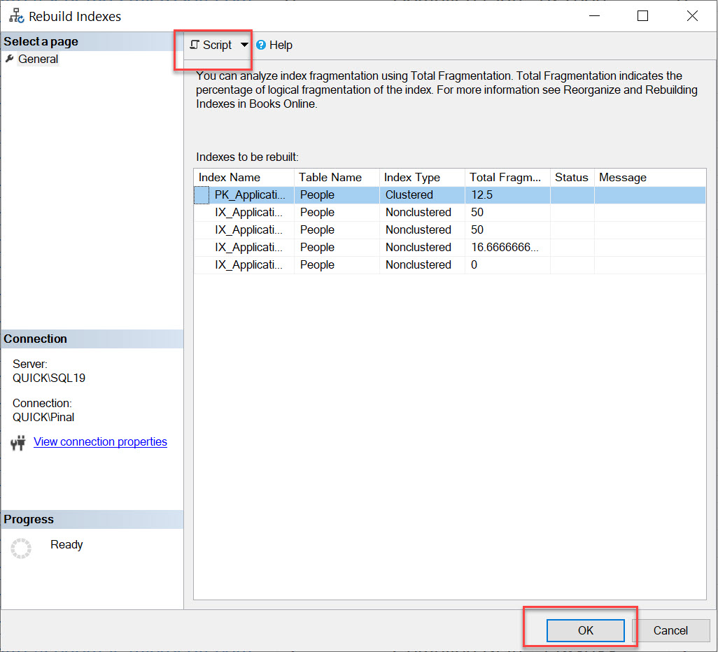 SQL SERVER Management Studio - Rebuild All Indexes on Table rebuild-all2