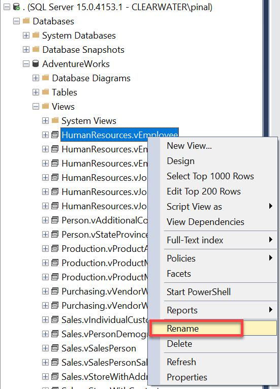 SQL SERVER - Rename View renameview