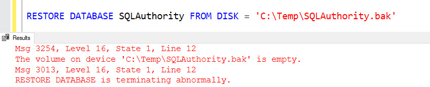 SQL SERVER - Msg 3254 - The Volume on Device Path\File is Empty. RESTORE DATABASE is Terminating Abnormally restore-empty-err-01