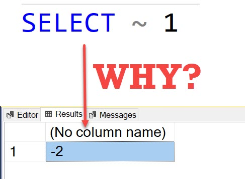 SQL Puzzle - SELECT ~ 1 : Guess the Answer selecttilde1