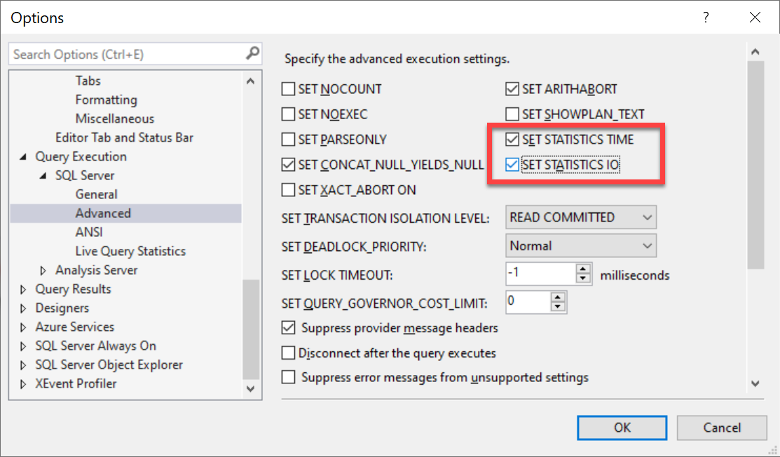 SQL SERVER Management Studio - Enable Statistics Time and IO for Every Query set statistics