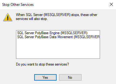 SQL SERVER - Error 1051: A Stop Control Has Been Sent to a Service that Other Running Services are Dependent On sql-stop-02