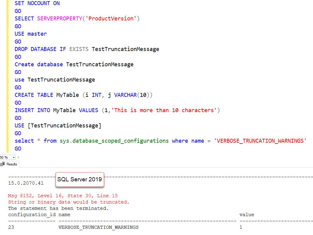 SQL SERVER 2019 - Still Getting String or Binary Data Would be Truncated sql2019-trunc-01