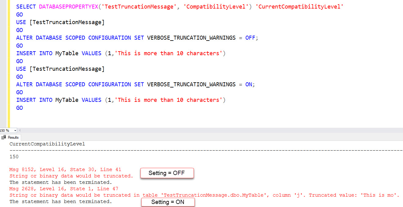 SQL SERVER 2019 - Still Getting String or Binary Data Would be Truncated sql2019-trunc-03
