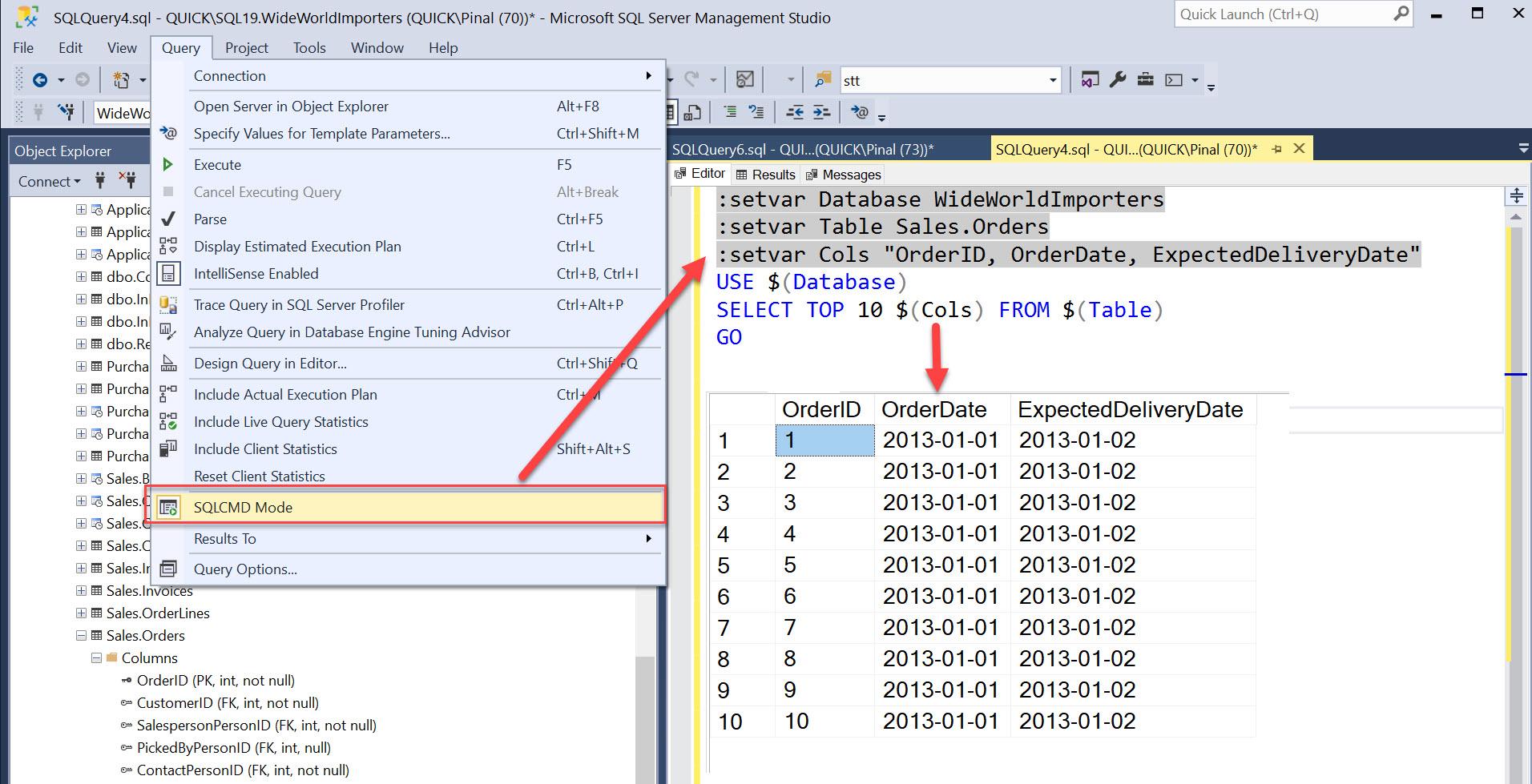 SQL SERVER Management Studio and SQLCMD Mode sqlcmdmode2