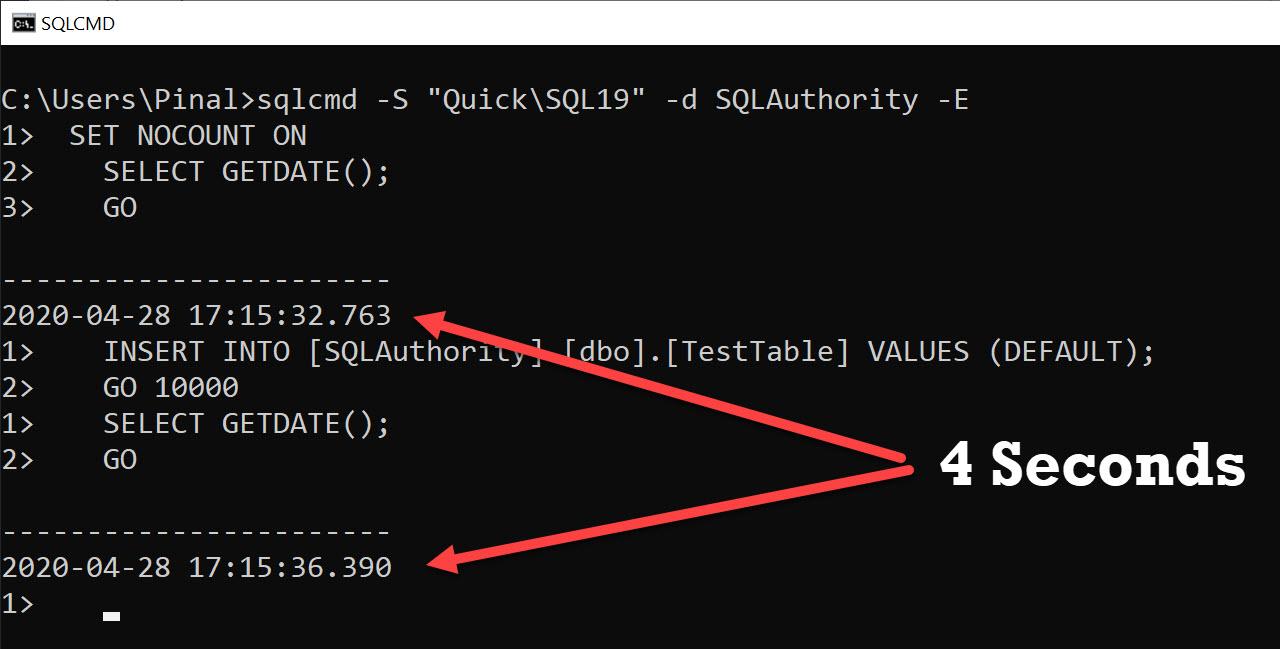 SQL SERVER - Performance Test - sqlcmd vs SSMS sqlcmdssms1