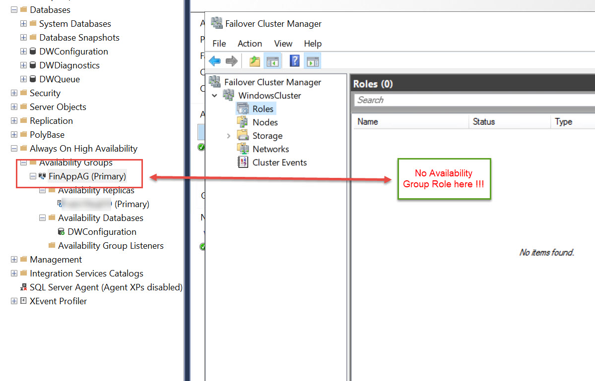 SQL SERVER - Availability Group Seen in SSMS but missing in Cluster Manager. What's Wrong? ssms-clus-type-missing-01
